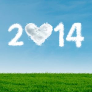 New year of 2014 with heart shaped cloud